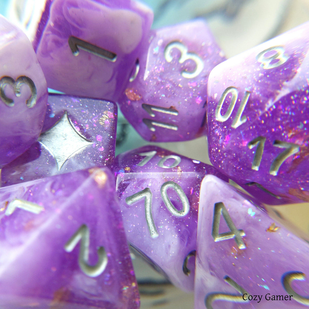 Iris 8 Piece Dice Set. Clear Purple and White Marble, with Glitter and Foil - CozyGamer