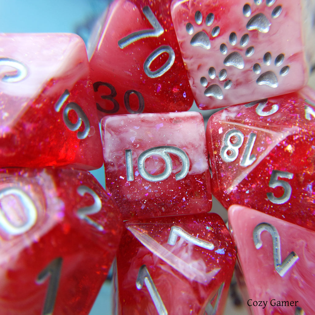 Red Dahlia 8 Piece Dice Set. Clear Red and White Marble, with Glitter and Foil - CozyGamer