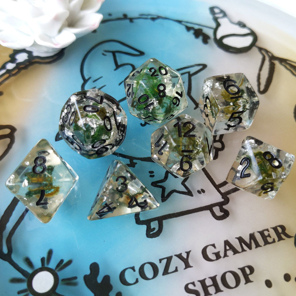 Moss and Silver Dice Set, Translucent Resin Dice with Real Moss and Silver Foil - CozyGamer