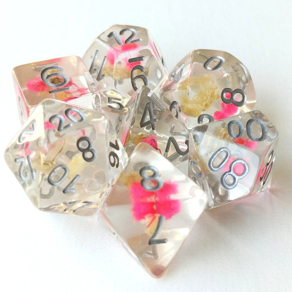 Pink and Yellow Flower Dice Set - CozyGamer