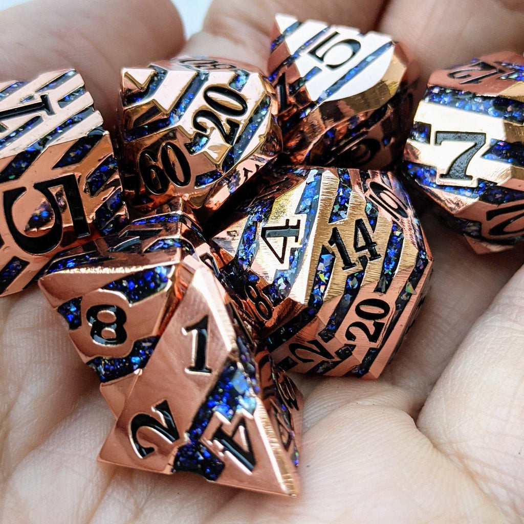 Portal Metal Dice Set. Copper Plated Striped Glitter Dice - CozyGamer