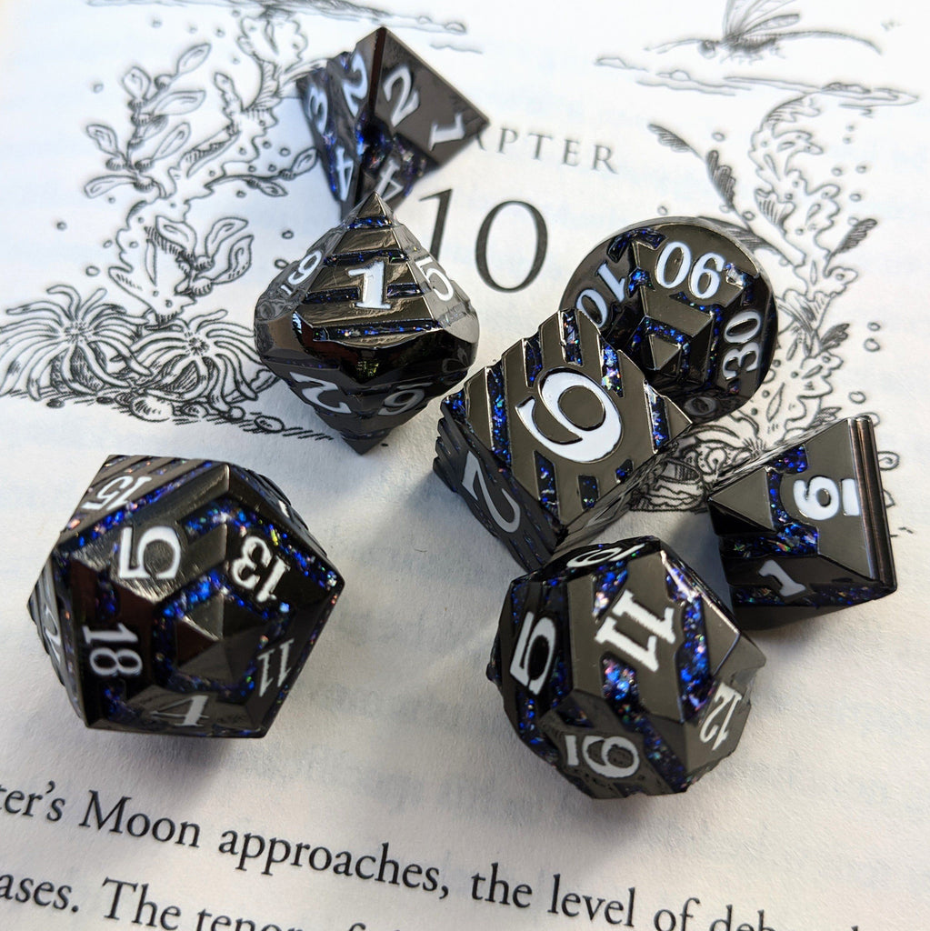 Dark Matter Metal Dice Set. Black Plated Striped Glitter Dice - CozyGamer