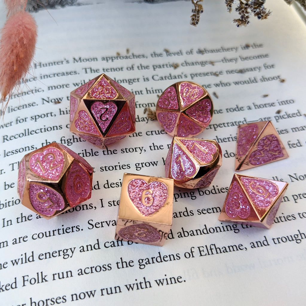 Romance Addict Dice Set. Pink Glitter Heart Copper Metal Dice - CozyGamer