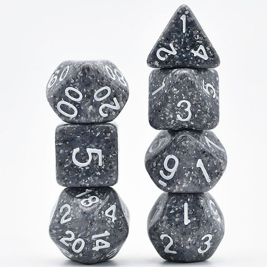 Speckled Stone Dice Set, Flawed Gray spotted particle dice - CozyGamer
