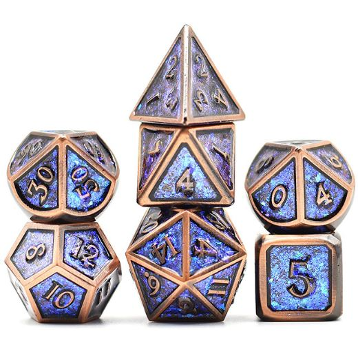 Copper Plated Shifting Blue Glitter Metal Dice Set - CozyGamer