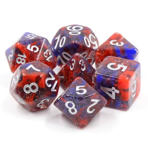 Fire and Ice Dice Set. Red and blue resin DND dice set - CozyGamer
