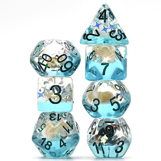 Blue Conch Dice Set, Real Seashells from the Ocean - CozyGamer
