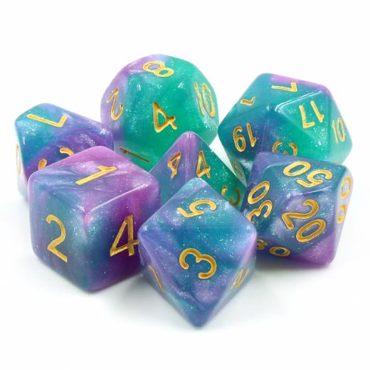 Byzantium Dice Set. Blue, purple, and green glittering galaxy dice - CozyGamer