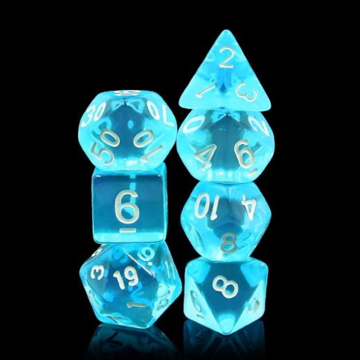 Azure Gems Dice Set. Clear blue Acrylic TTRPG Dice - CozyGamer