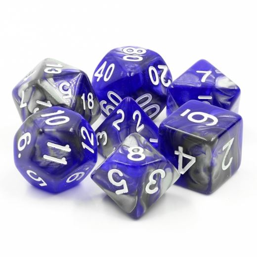 Cold Iron Dice Set. Blue and silver marbled DnD dice set. - CozyGamer