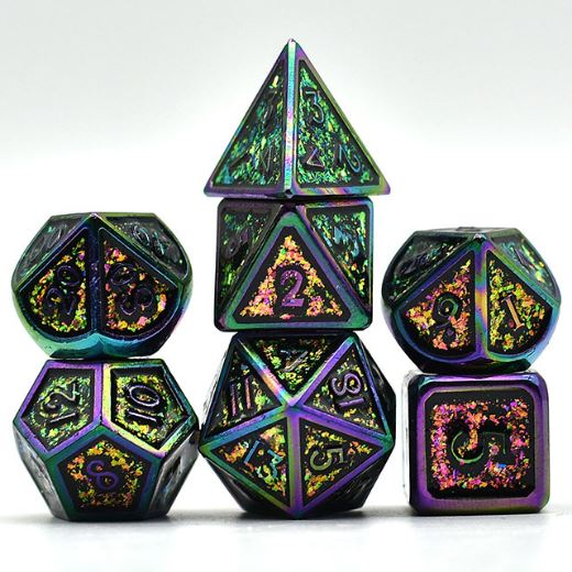 Glittering Color Shift Metal Dice Set with Rainbow Trim - CozyGamer