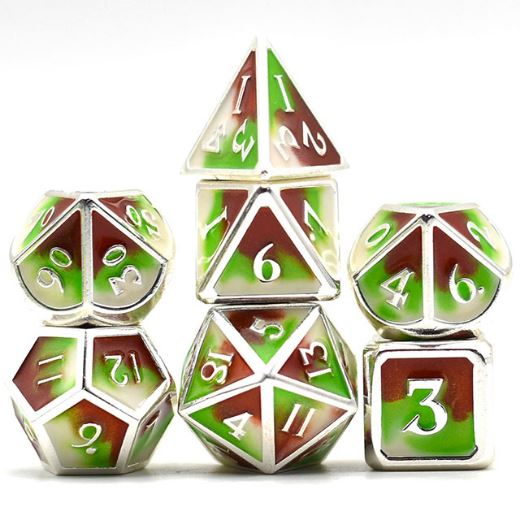 Three Colors: Green Brown and White Metal Dice Set with Silver Trim - CozyGamer