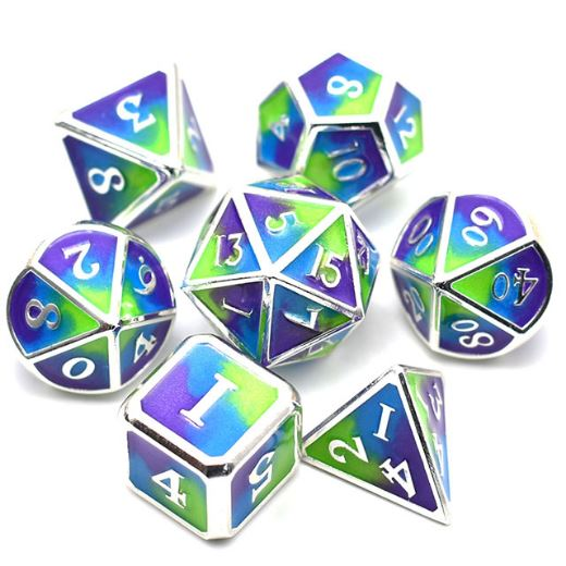 Three Colors: Green Blue and Purple Metal Dice Set with Silver Trim - CozyGamer