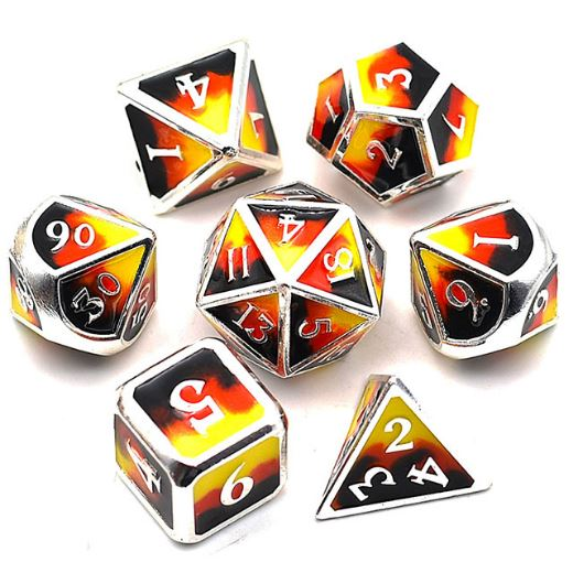 Three Colors: Black, Red, Yellow Metal Dice Set with Silver Trim - CozyGamer