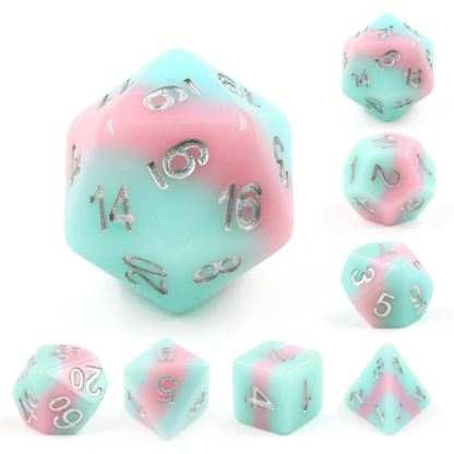 Metamorphosis Dice Set. Blue and pink layered DND dice set - CozyGamer