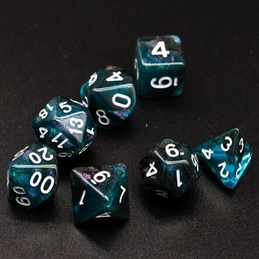 Black and Blue Will O Wisp Dice Set. Glitter TTRPG Dice - CozyGamer