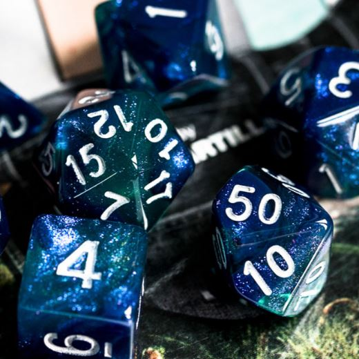 Blue and Green Will O Wisp Dice Set - CozyGamer