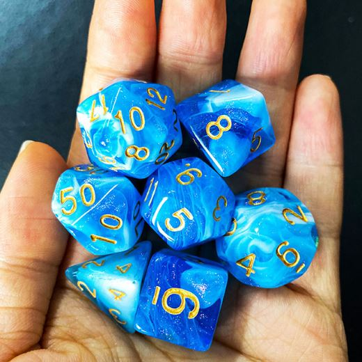 White and Blue Will O Wisp Dice Set - CozyGamer