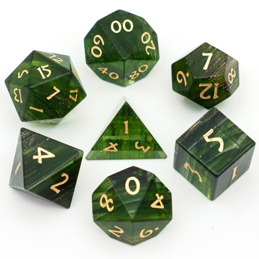 Green Colored Ribbon Glass Dice Set. Semi Precious Gemstone 7 Piece TTRPG Dice - CozyGamer