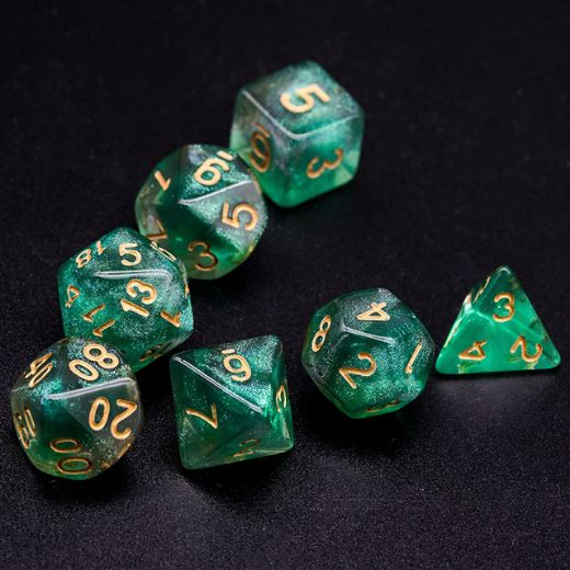 Green and Grey Will O Wisp Dice Set - CozyGamer