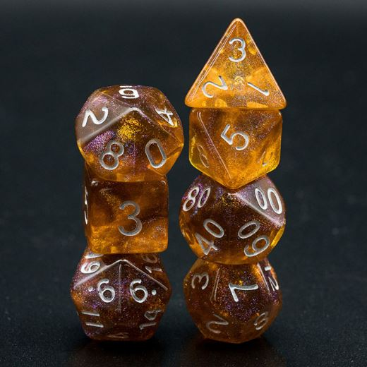 Grey and Orange Will O Wisp Dice Set - CozyGamer
