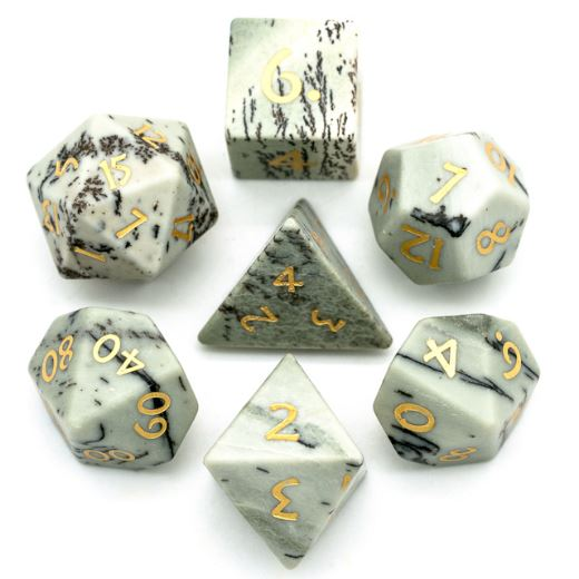White Jasper Dice Set. Semi Precious Gemstone 7 Piece TTRPG Dice - CozyGamer