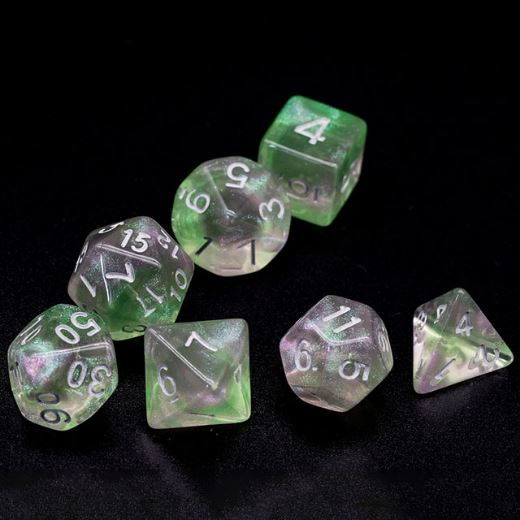 Medium Green and Pink Will O Wisp Dice Set - CozyGamer