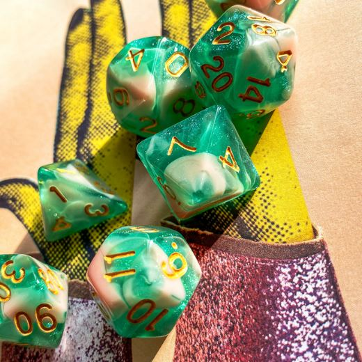 Green and Pink Will O Wisp Dice Set - CozyGamer