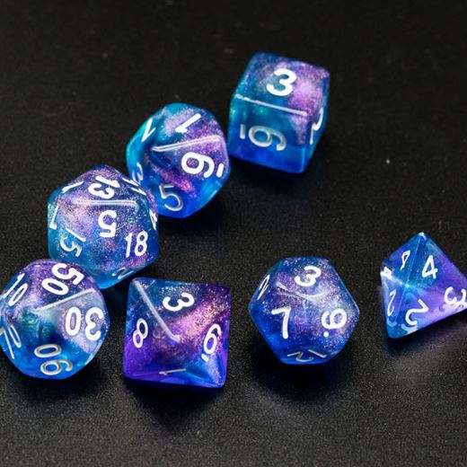 Purple and Blue Will O Wisp Dice Set - CozyGamer