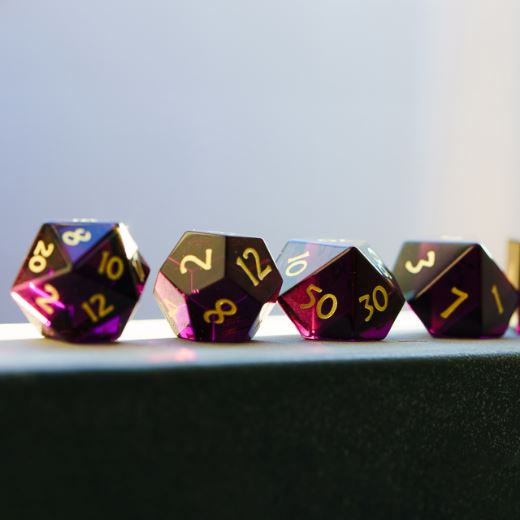 Deep Purple Crystal Dice Set. Semi Precious Gemstone 7 Piece TTRPG Dice - CozyGamer