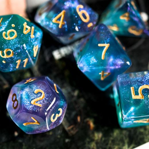 Purple and Cyan Will O Wisp Dice Set - CozyGamer