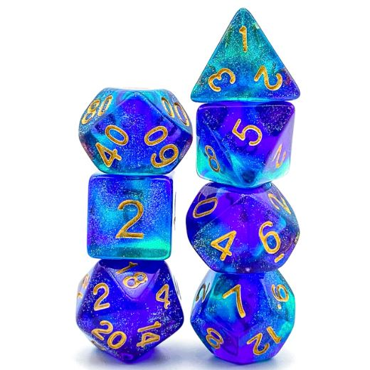 Purple and Green Will O Wisp Dice Set - CozyGamer