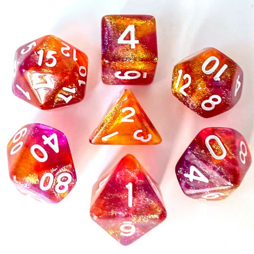 Purple and Orange Will O Wisp Dice Set - CozyGamer