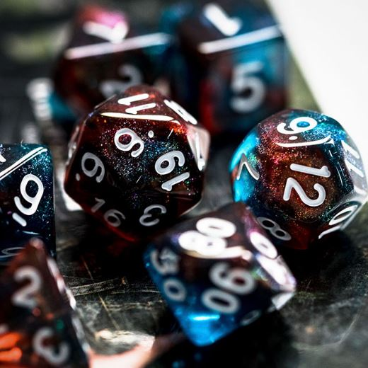 Red and Blue Will O Wisp Dice Set - CozyGamer