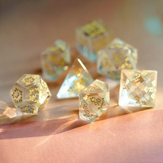 Carved Glass Dice Set. Semi Precious Gemstone 7 Piece TTRPG Dice - CozyGamer