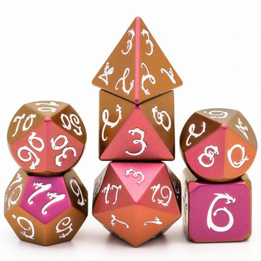 Purple and Gold Dragon Metal Dice Set with White Font - CozyGamer