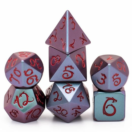 Purple and Green Dragon Metal Dice Set with Red Font - CozyGamer