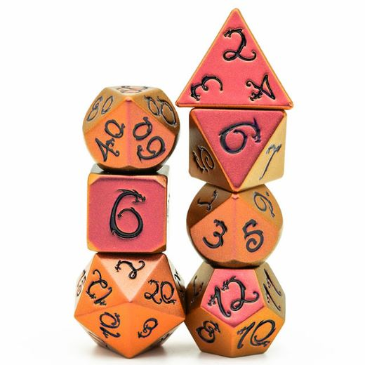 Red and Yellow Dragon Metal Dice Set with Black Font - CozyGamer