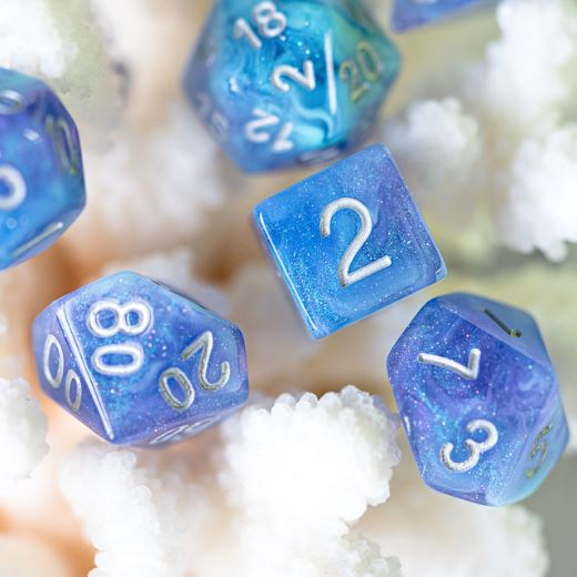 Enchantment Dice Set. Blue and purple resin DND dice set - CozyGamer