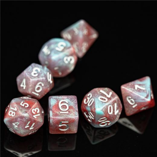 Culling Galaxy Dice Set. Blue and red resin DND dice set - CozyGamer
