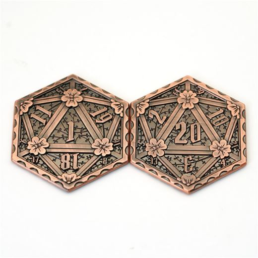 D20 Metal Coin, 2 Sided Die - CozyGamer