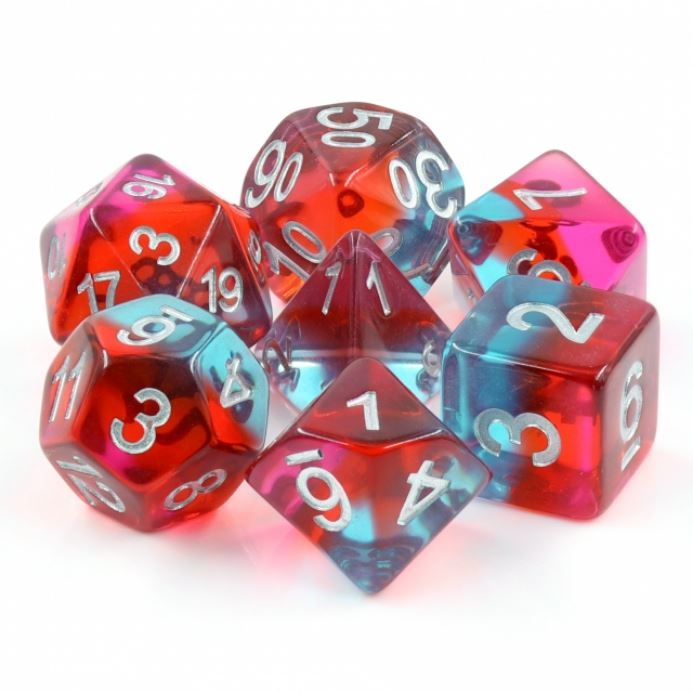 Savannah Sunrise Dice Set. Transparent blue, red and pink dice set - CozyGamer