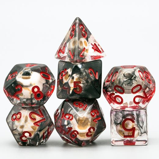 Black Smoke Skull Dice Set - CozyGamer