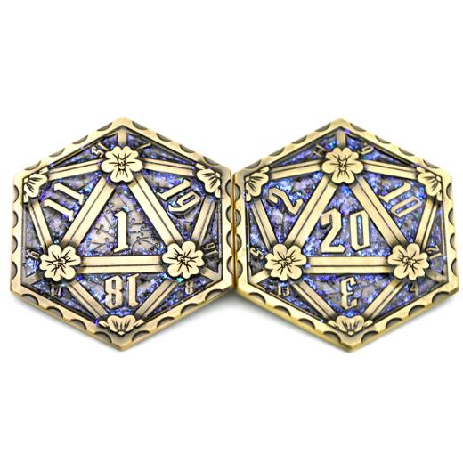 D20 Glittering Metal Coin, 2 Sided Die - CozyGamer