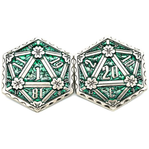 D20 Emerald Metal Coin, 2 Sided Die - CozyGamer