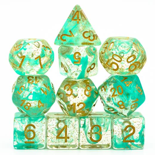 Pre Order 11 Piece Green Glitter Smoke Dice Set with Gold Font - CozyGamer
