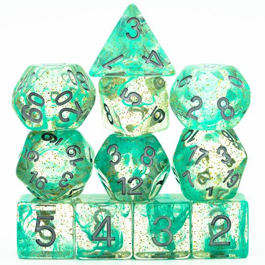 Pre Order 11 Piece Green Glitter Smoke Dice Set with Silver Font - CozyGamer