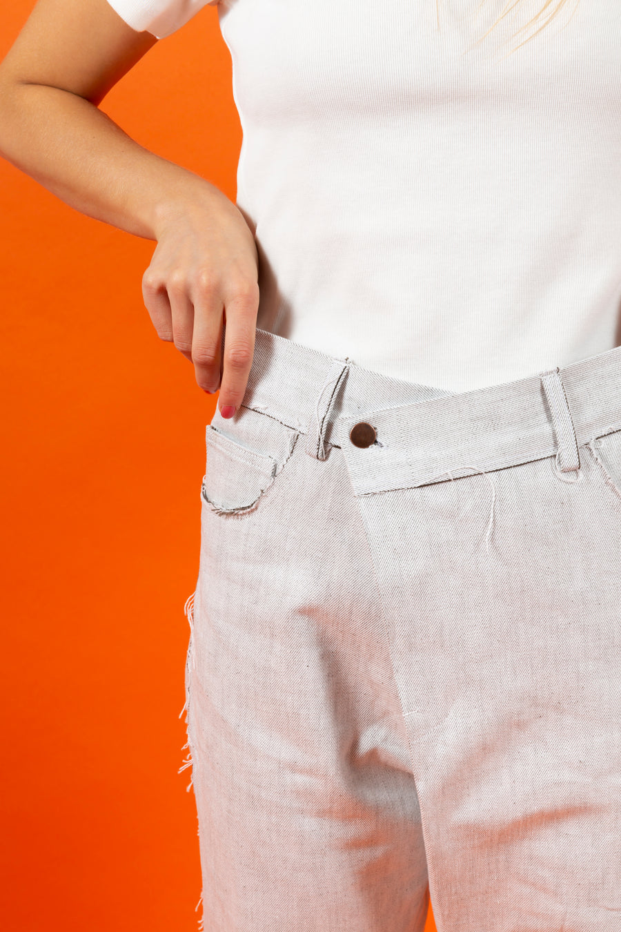 Japanese RAW Denim Overlap Pants White SIGHTLINE