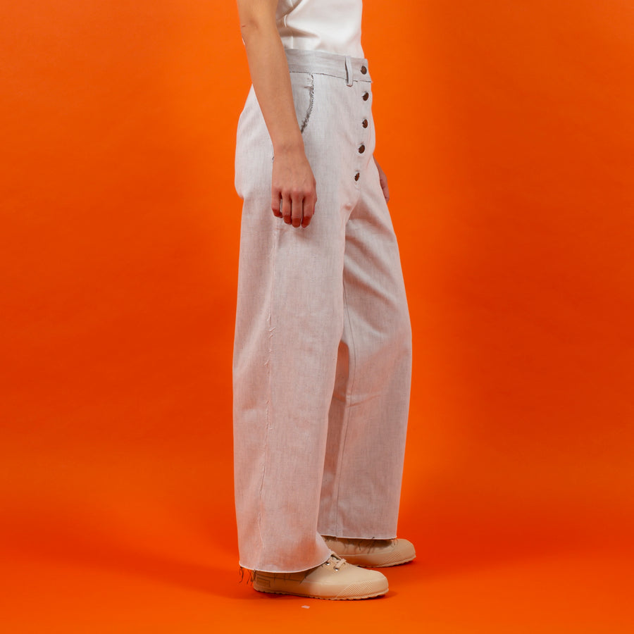 Japanese RAW Denim Button Pants White SIGHTLINE