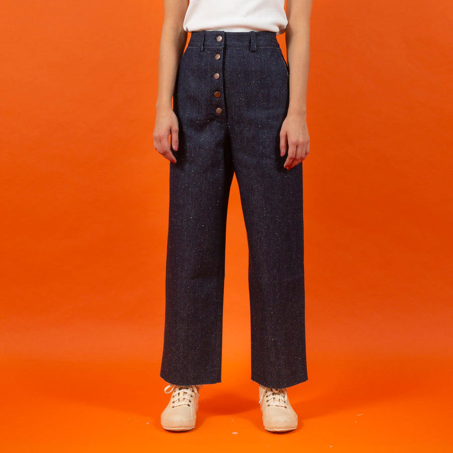 Japanese RAW Denim Button Pants Blue SIGHTLINE